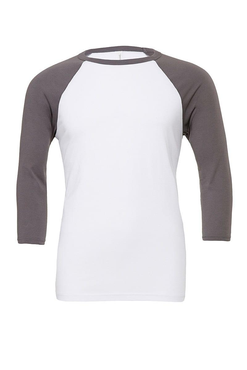 Bella Canvas 3/4 Baseball T-Shirt in White / Asphalt (Product Code: CA3200)
