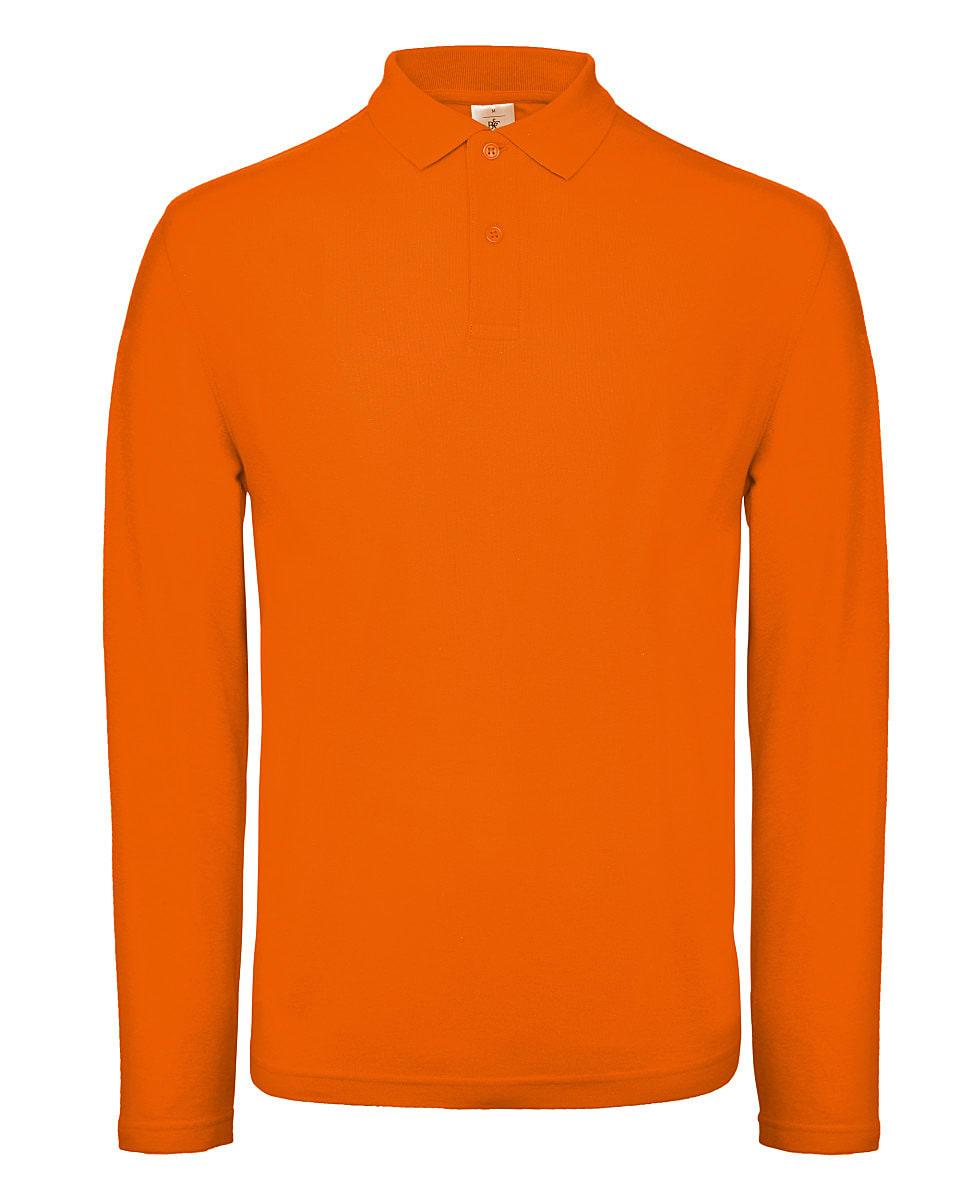 B&C Mens ID.001 Long-Sleeve Polo Shirt in Orange (Product Code: PUI12)
