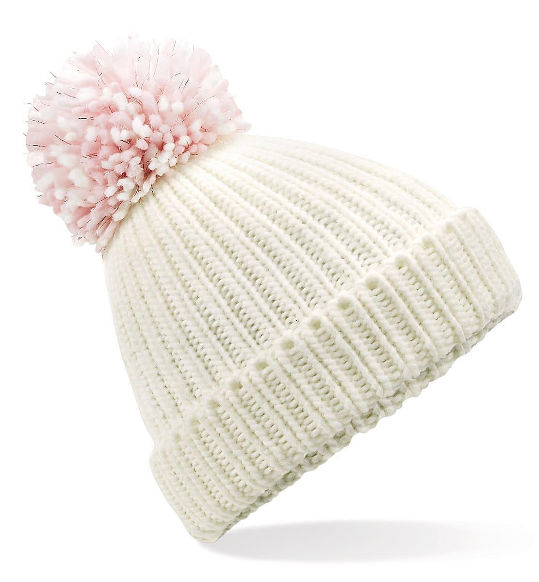 Beechfield Shimmer Pom Pom Beanie Hat in Off-White / Pastel Pink (Product Code: B409)