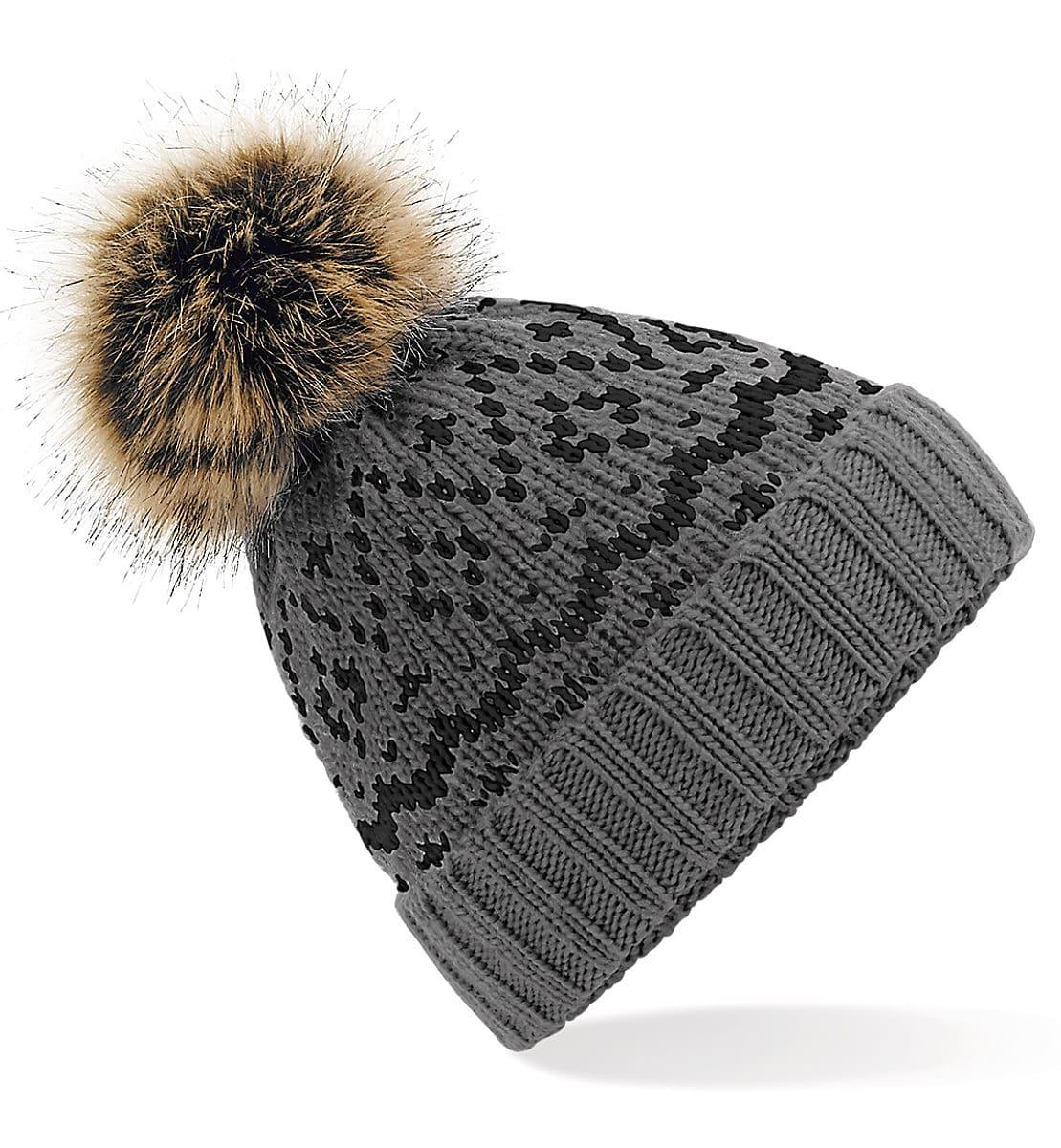 Beechfield Fair Isle Pop Pom Beanie Hat in Smoke Grey / Black (Product Code: B411)