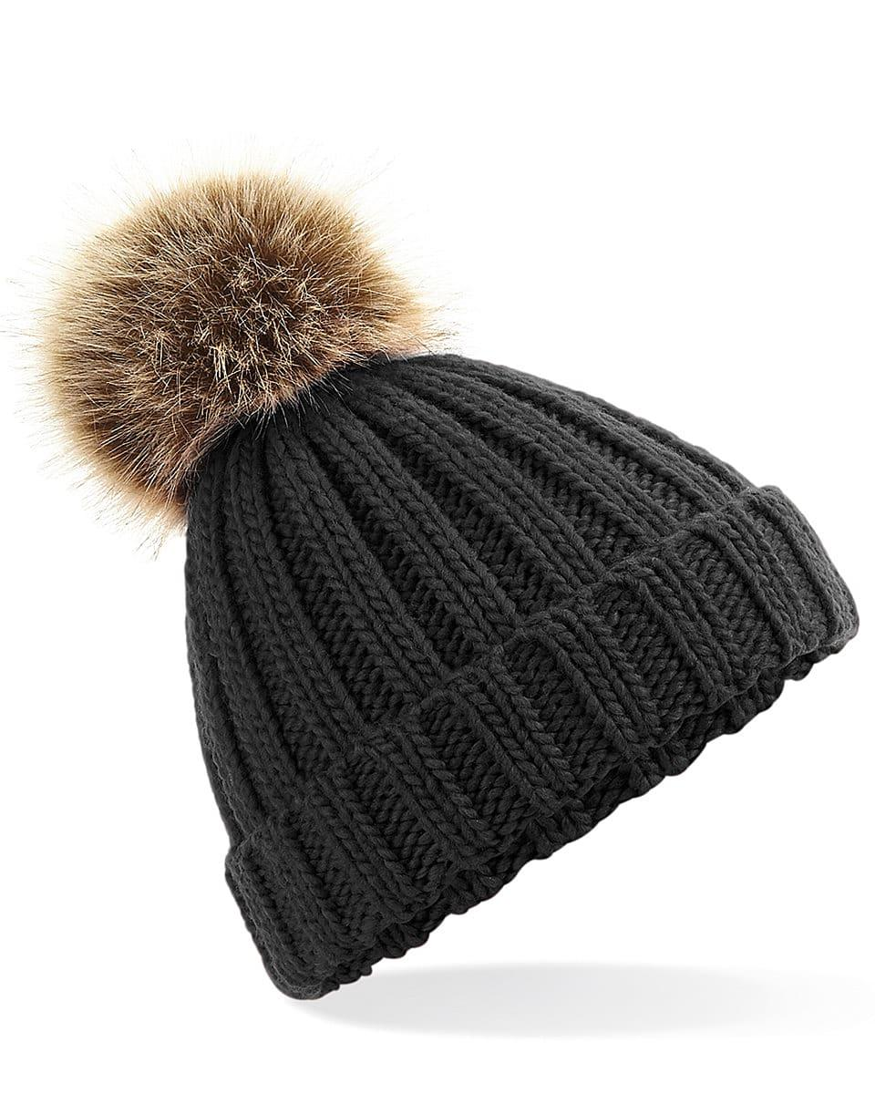 Beechfield Junior PomPom Chunky Beanie Hat in Black (Product Code: B412B)