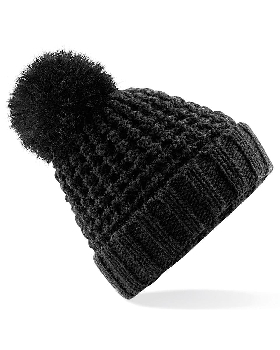 Beechfield Popcorn Fur Pop Pom Beanie Hat in Black (Product Code: B415)