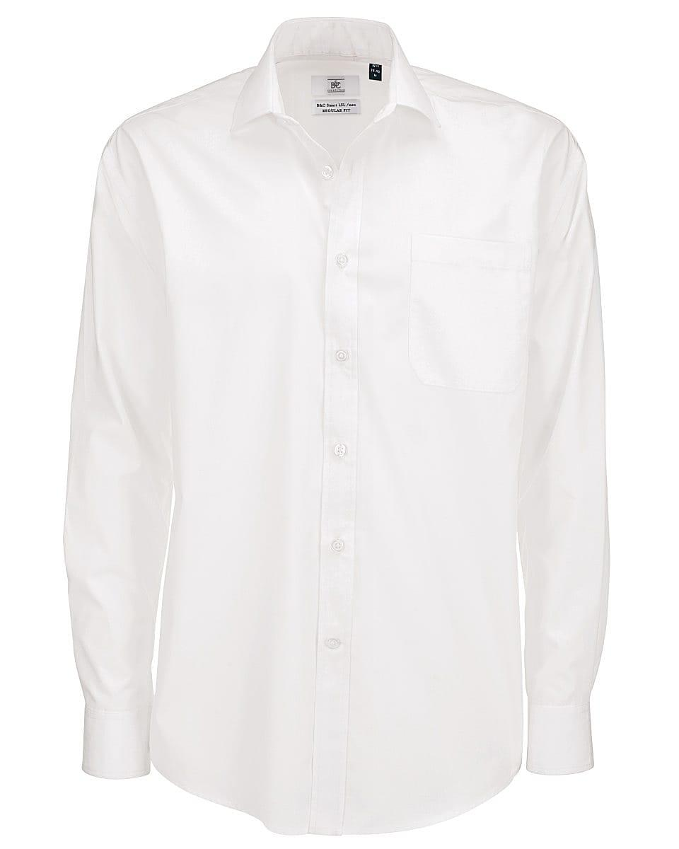B&C Mens Smart Long-Sleeve Poplin Shirt in White (Product Code: SMP61)