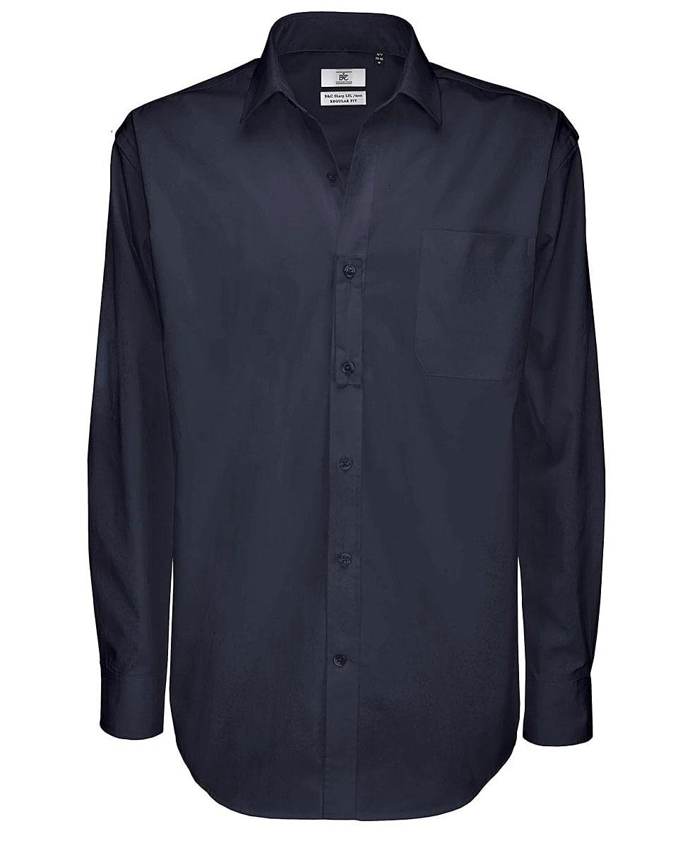 B&C Mens Sharp Twill Cotton Long-Sleeve Shirt in Navy Blue (Product Code: SMT81)