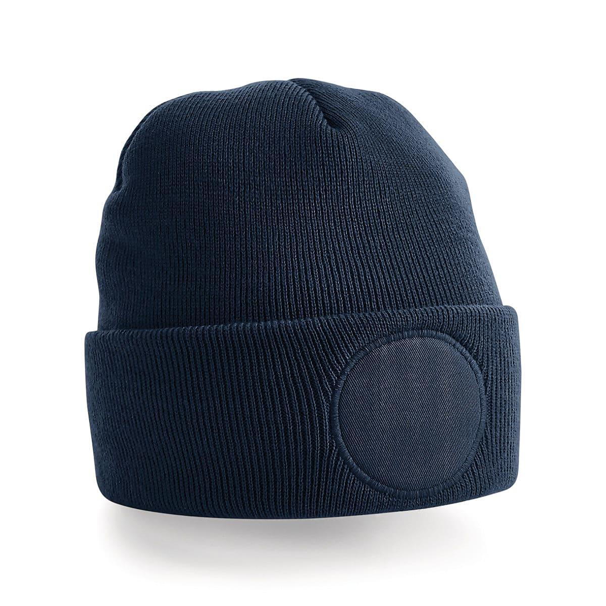 Beechfield Circular Patch Beanie Hat in French Navy (Product Code: B446)
