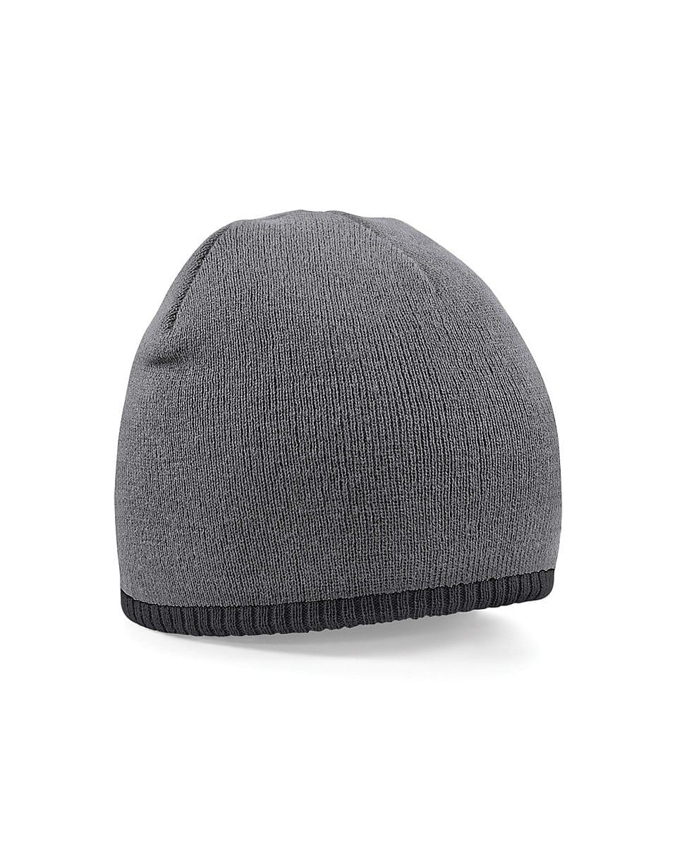 Beechfield Two-Tone Beanie Knitted Hat in Graphite Grey / Black (Product Code: B44C)