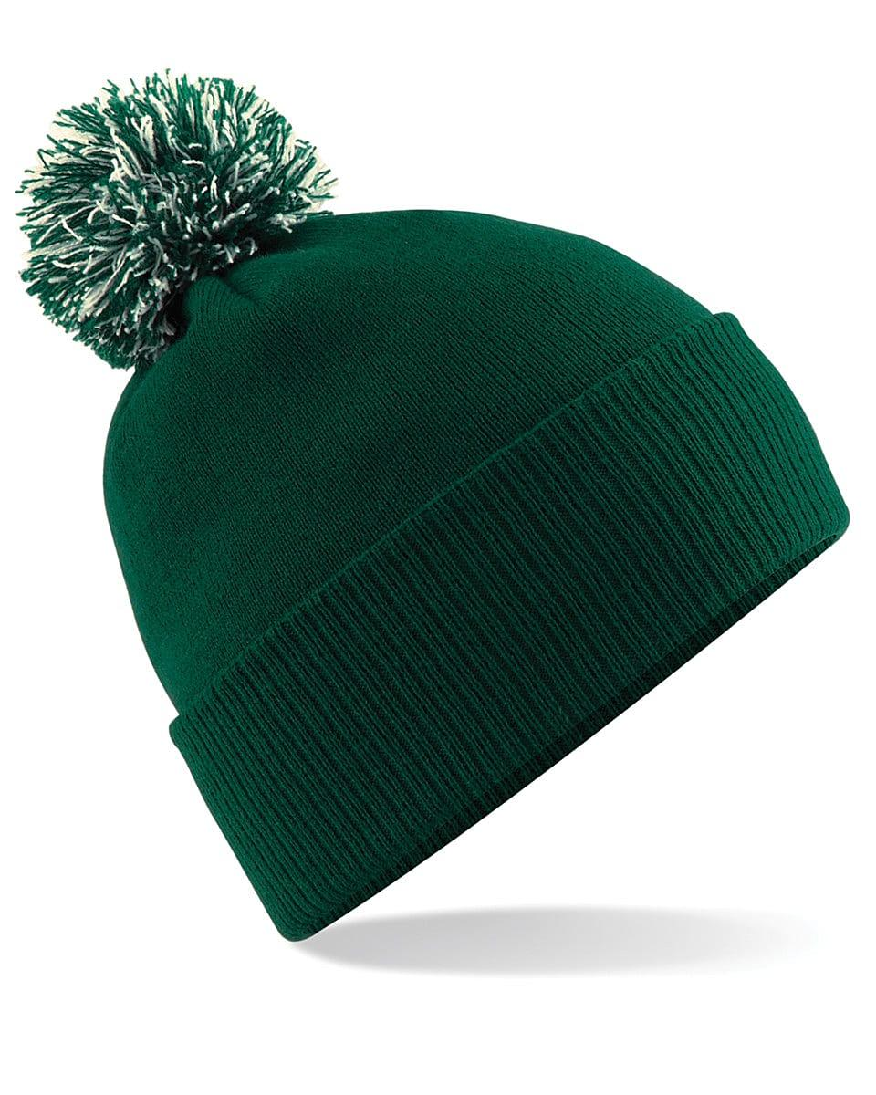 Beechfield Snowstar Beanie Hat in Bottle Green / Off-White (Product Code: B450)