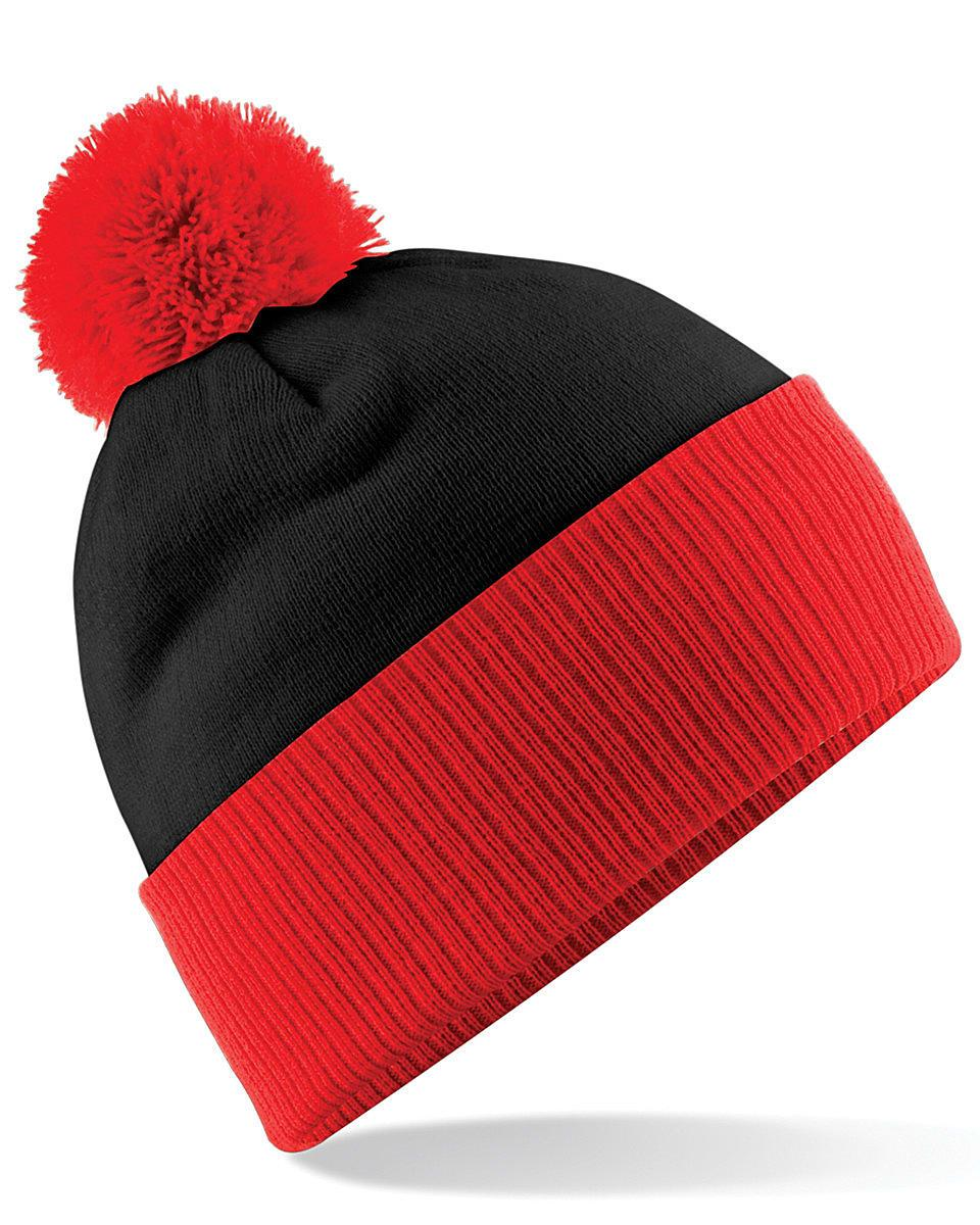 Beechfield Snowstar Two-Tone Beanie Hat in Black / Bright Red (Product Code: B451)