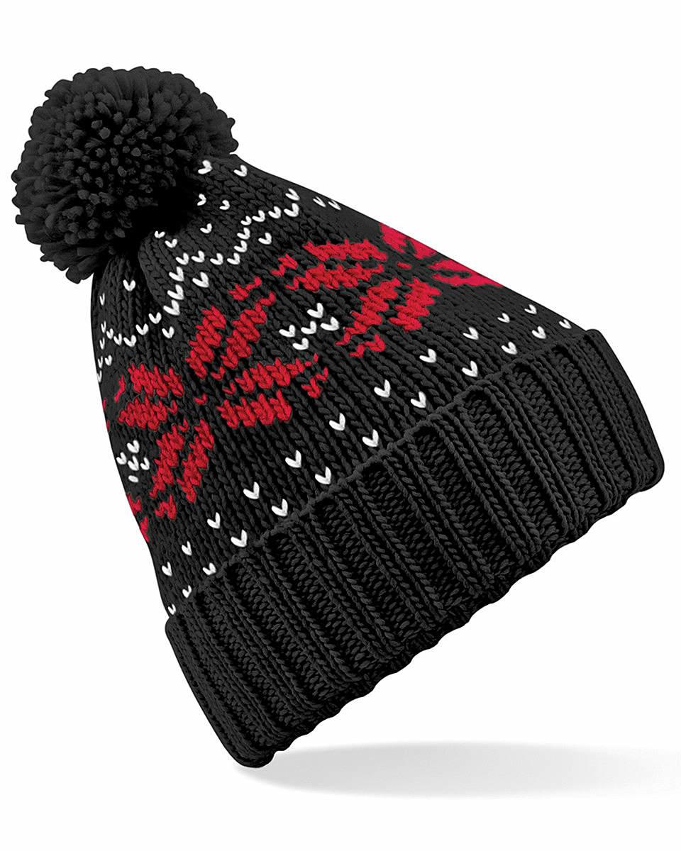 Beechfield Fair Isle Snowstar Beanie Hat in Black / Classic Red / White (Product Code: B456)