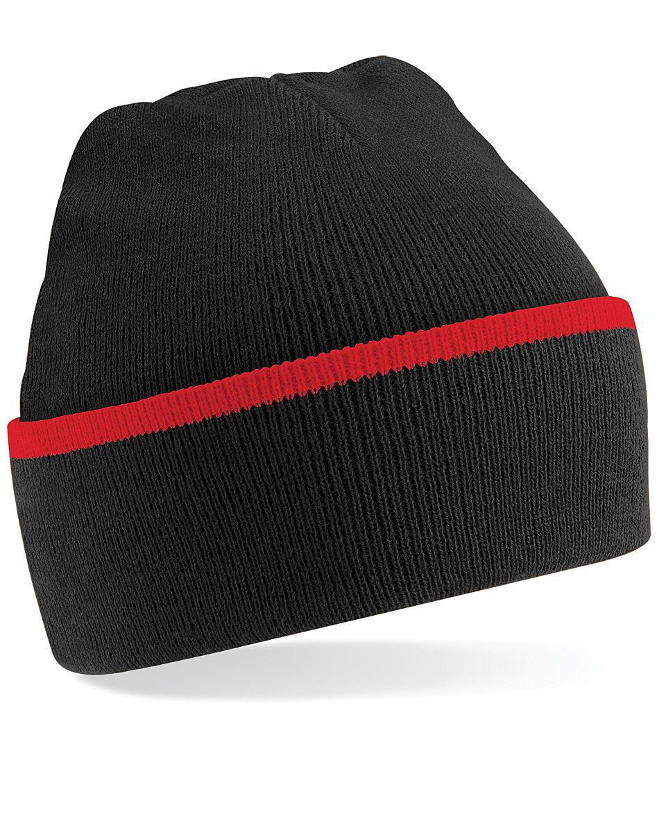 Beechfield Teamwear Beanie Hat in Black / Classic Red (Product Code: B471)