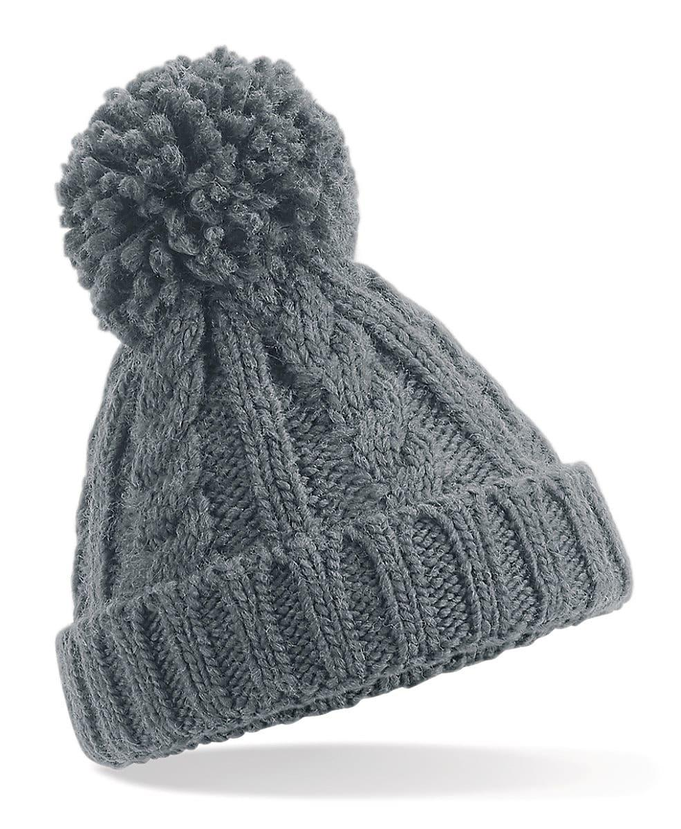 Beechfield Infant Cble Knit Melang Beanie Hat in Light Grey (Product Code: B480A)