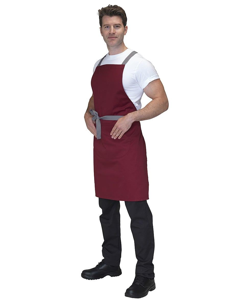 Dennys Cross Back Apron in Claret (Product Code: DP130)