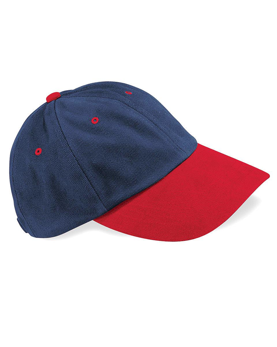 Beechfield LP Heavy Brushed Cotton Cap in French Navy / Classic Red (Product Code: B57)