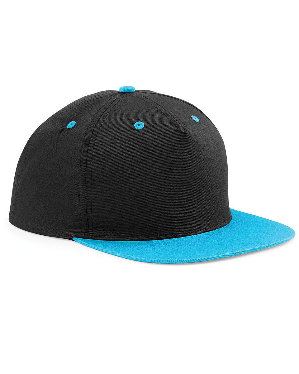 Beechfield 5 Panel Contrast Snapback Cap in Black / Surf Blue (Product Code: B610C)