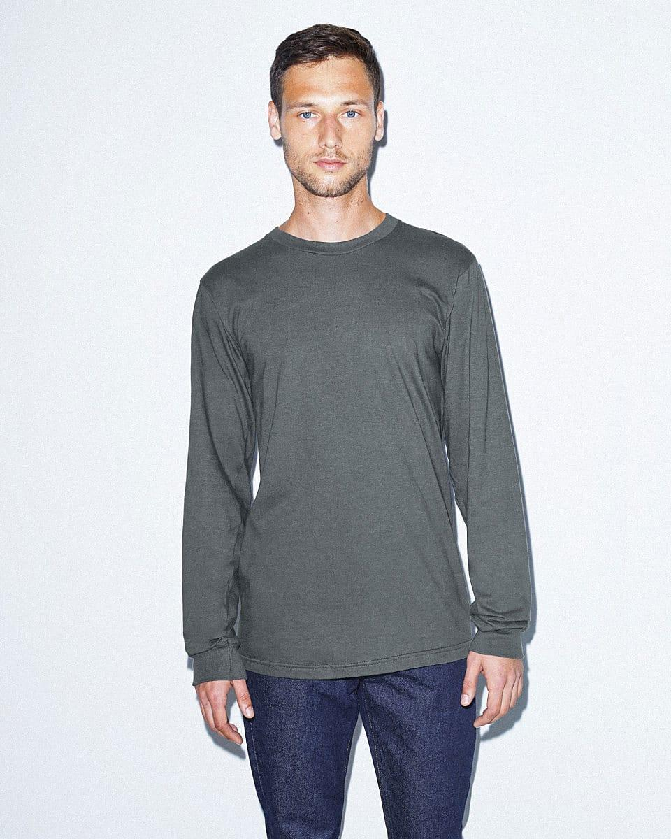 American Apparel Unisex Fine Jersey LS T-Shirt in Asphalt (Product Code: 2007W)