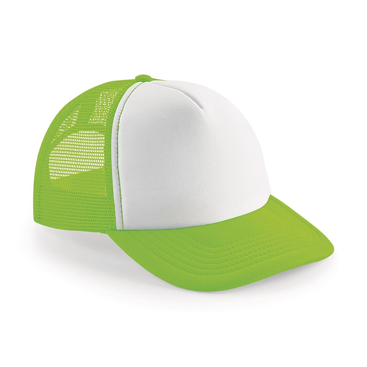 Beechfield Vintage Snapback Trucker Cap in Fluorescent Green / White (Product Code: B645)