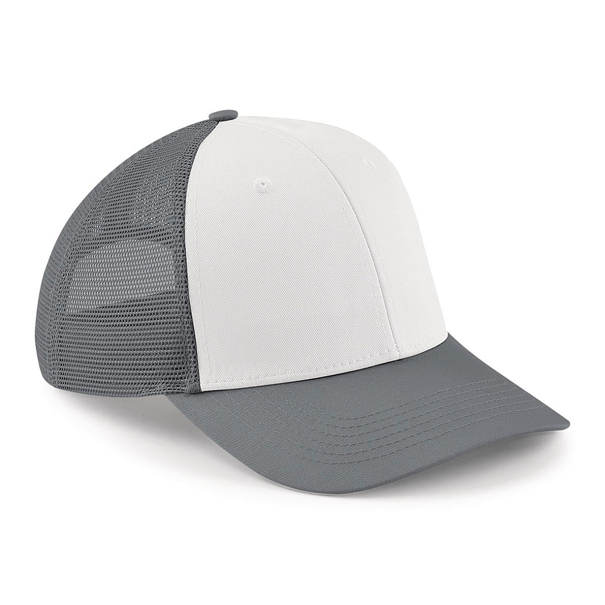 Beechfield 6 Panel Snapback Trucker Cap in Graphite / White (Product Code: B647)