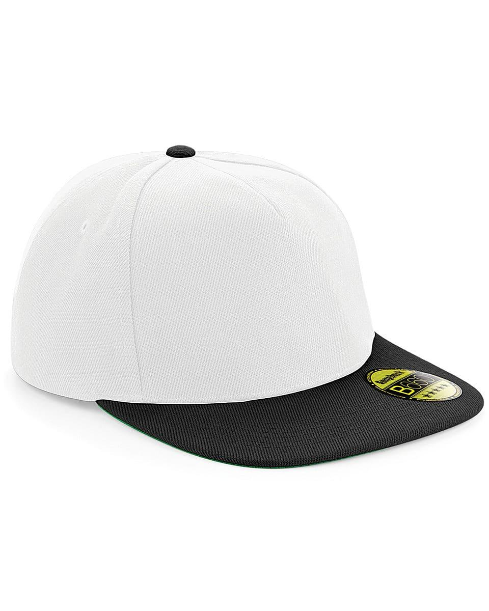 Beechfield Original Flat Peak Snapback in White / Black (Product Code: B660)