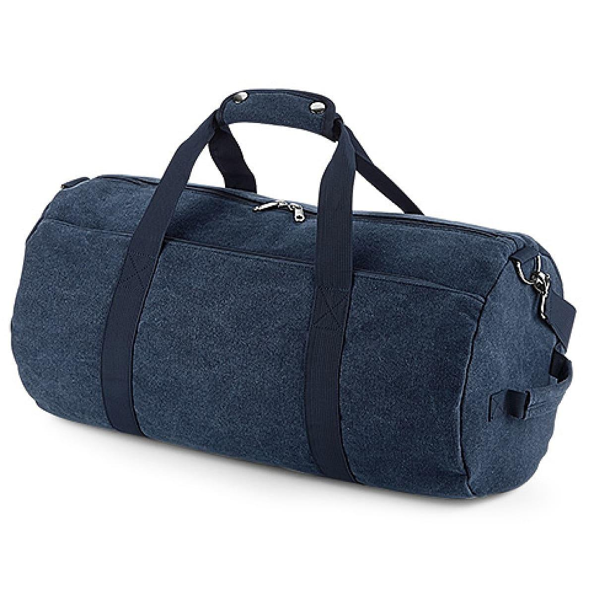 Bagbase Vintage Canval Barrel Bag in Vintage Oxford Navy (Product Code: BG655)