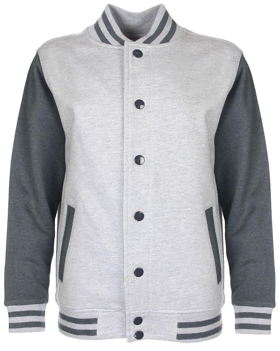 FDM Junior Varsity Jacket in Heather Grey / Charcoal (Product Code: FV002)