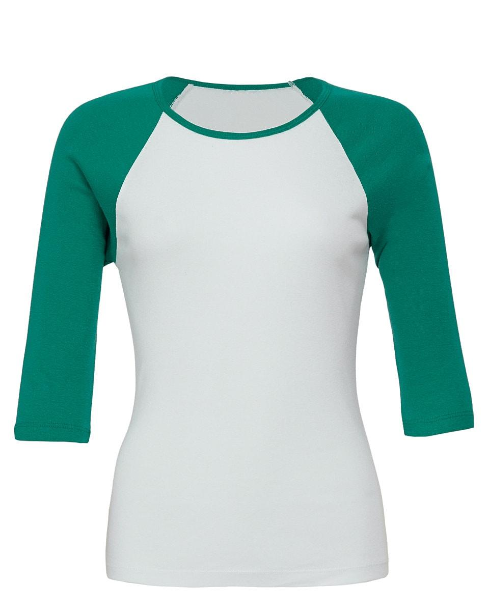 Bella Womens 3/4 Contrast T-Shirt in White / Kelly Green (Product Code: BE2000)
