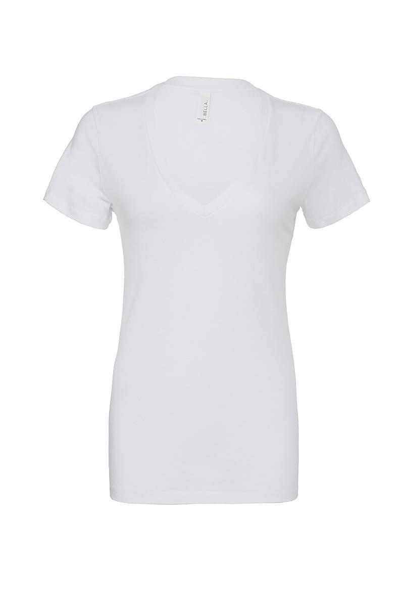 Bella Deep V-Neck Jersey T-Shirt in White (Product Code: BE6035)