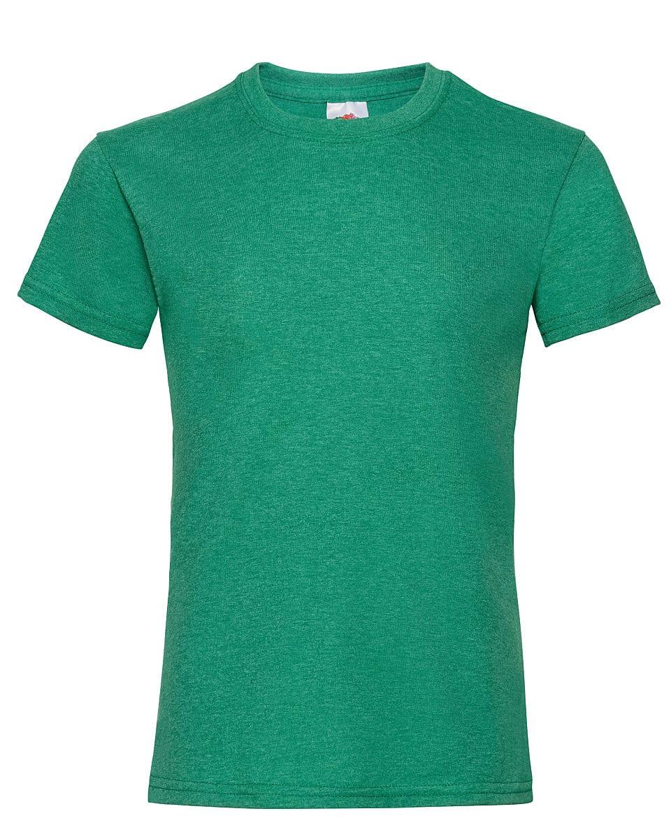 Fruit Of The Loom Girls Valueweight T-Shirt in Retro Heather Green (Product Code: 61005)