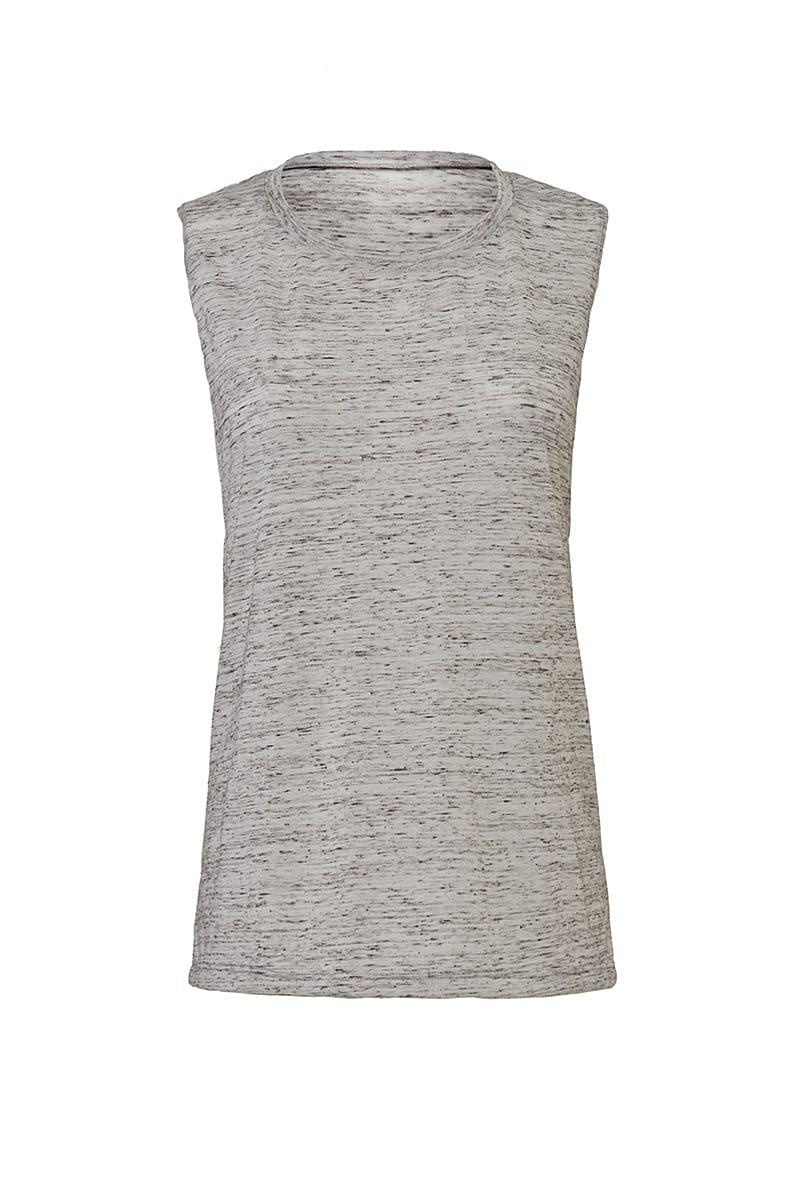 Bella Womens Flowy Scoop Muscle Tank in White Marble (Product Code: BE8803)