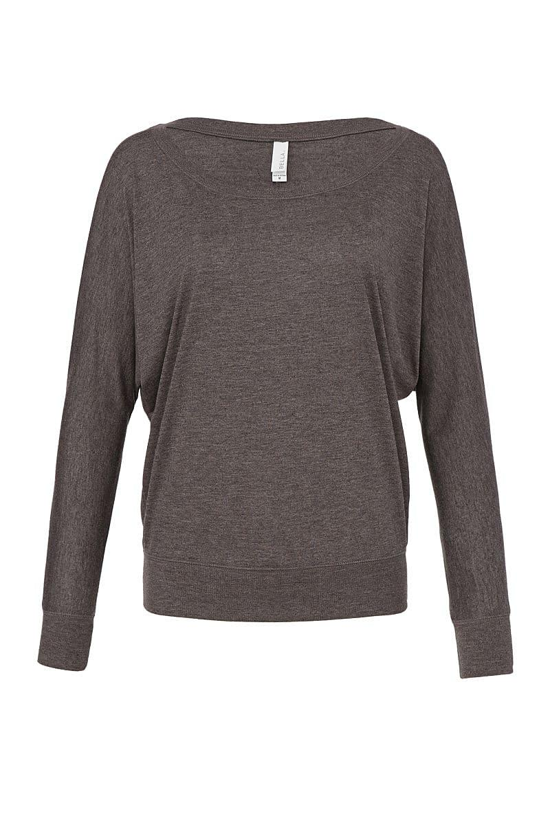Bella Flowy Off Shoulder Long-Sleeve T-Shirt in Dark Heather (Product Code: BE8850)