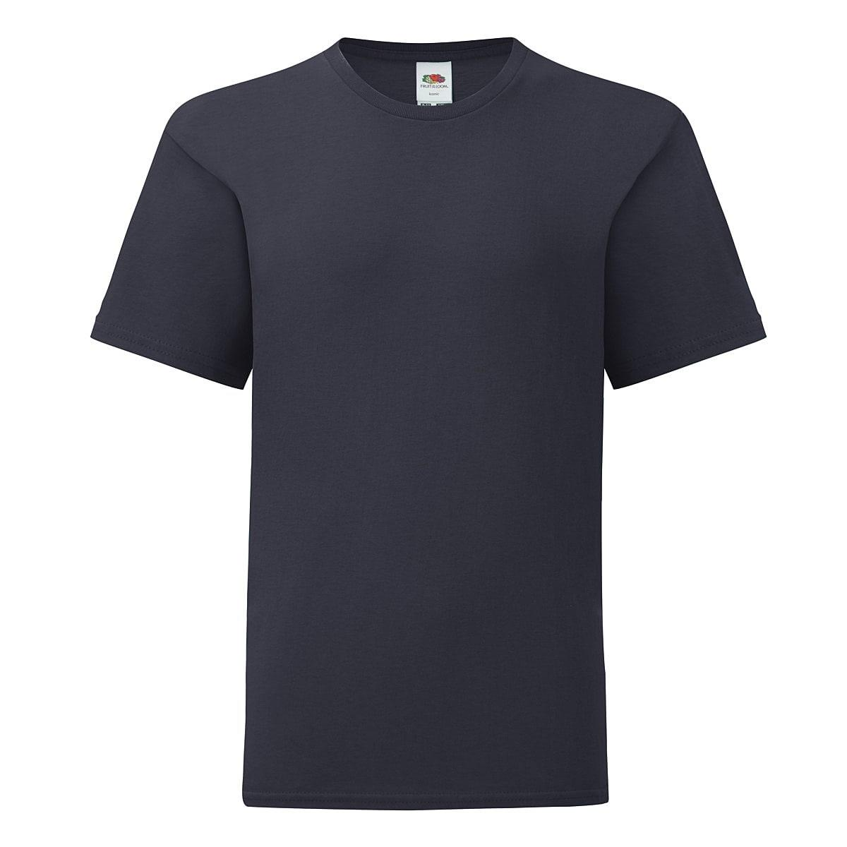 Fruit Of The Loom Kids Iconic T-Shirt in Deep Navy (Product Code: 61023)