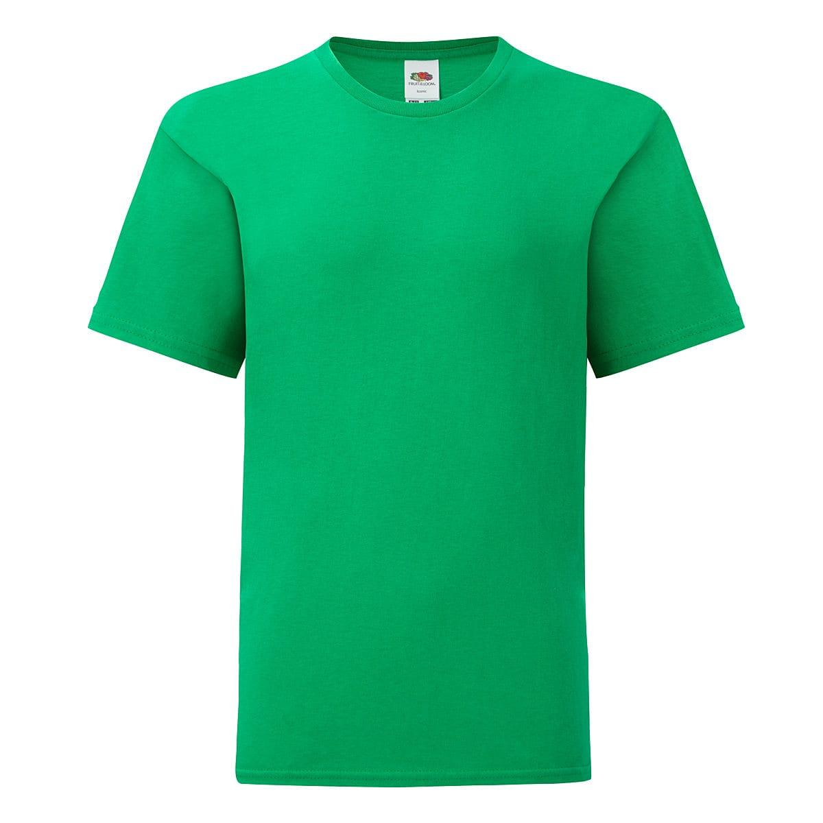 Fruit Of The Loom Kids Iconic T-Shirt in Kelly Green (Product Code: 61023)