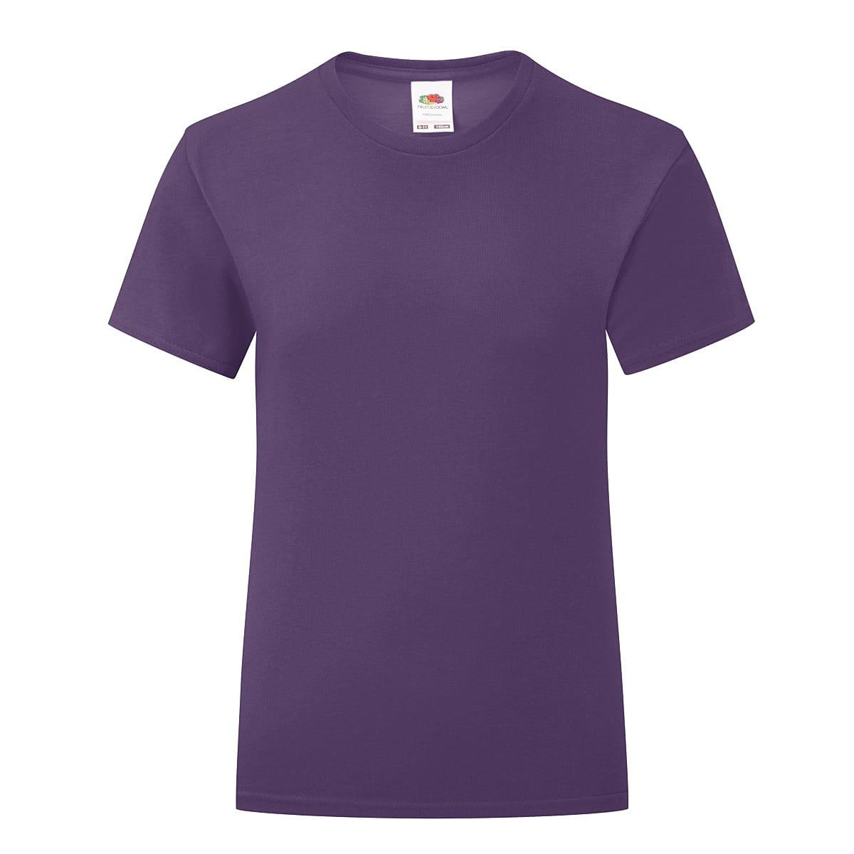 Fruit Of The Loom Girls Iconic T-Shirt in Purple (Product Code: 61025)