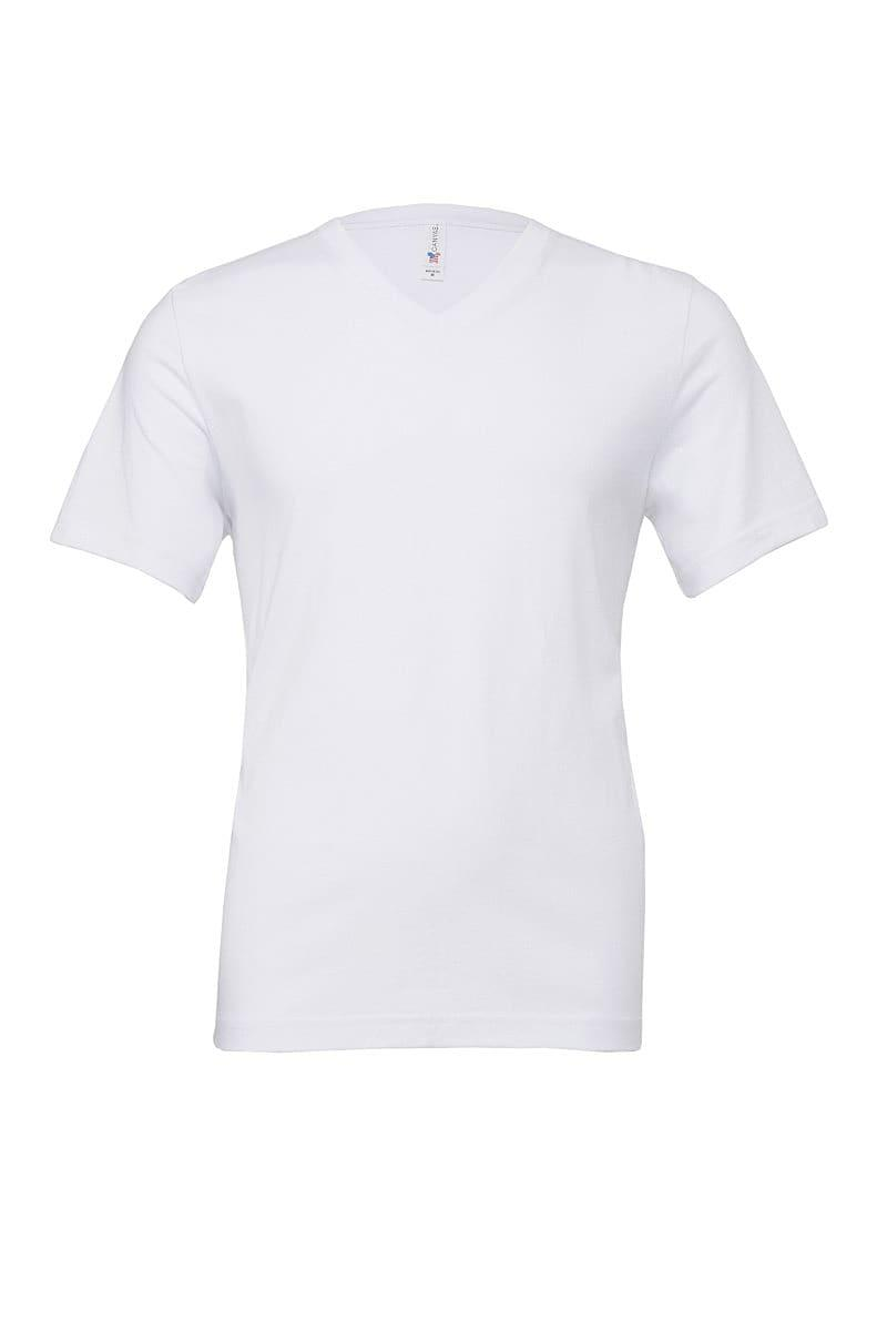 Bella Canvas Mens Jersey Short-Sleeve Vneck T-Shirt in White (Product Code: CA3005)