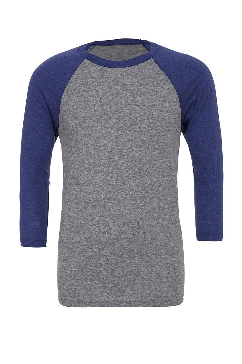 Bella Canvas 3/4 Baseball T-Shirt in Grey / Navy Triblend (Product Code: CA3200)