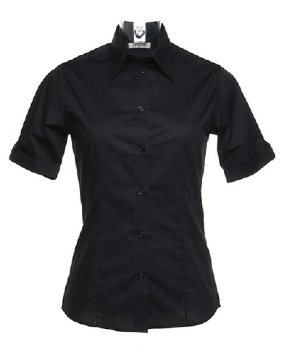 Bargear Womens Mock Turn Back Cuffs Bar Shirt in Black (Product Code: KK739)