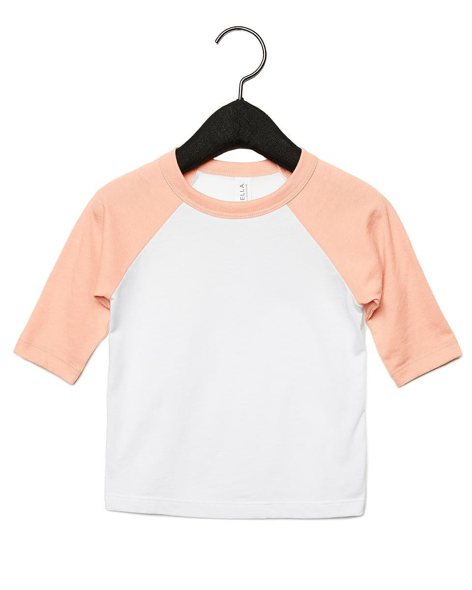 Bella Canvas Toddler 3/4 Baseball T-Shirt in White / Heather Peach (Product Code: CA3200T)