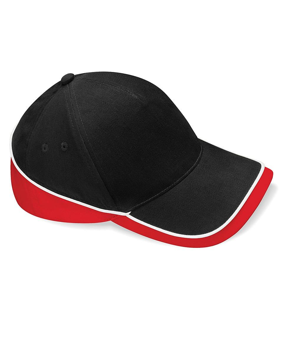 Beechfield Teamwear Competition Cap in Black / Classic Red / White (Product Code: B171)