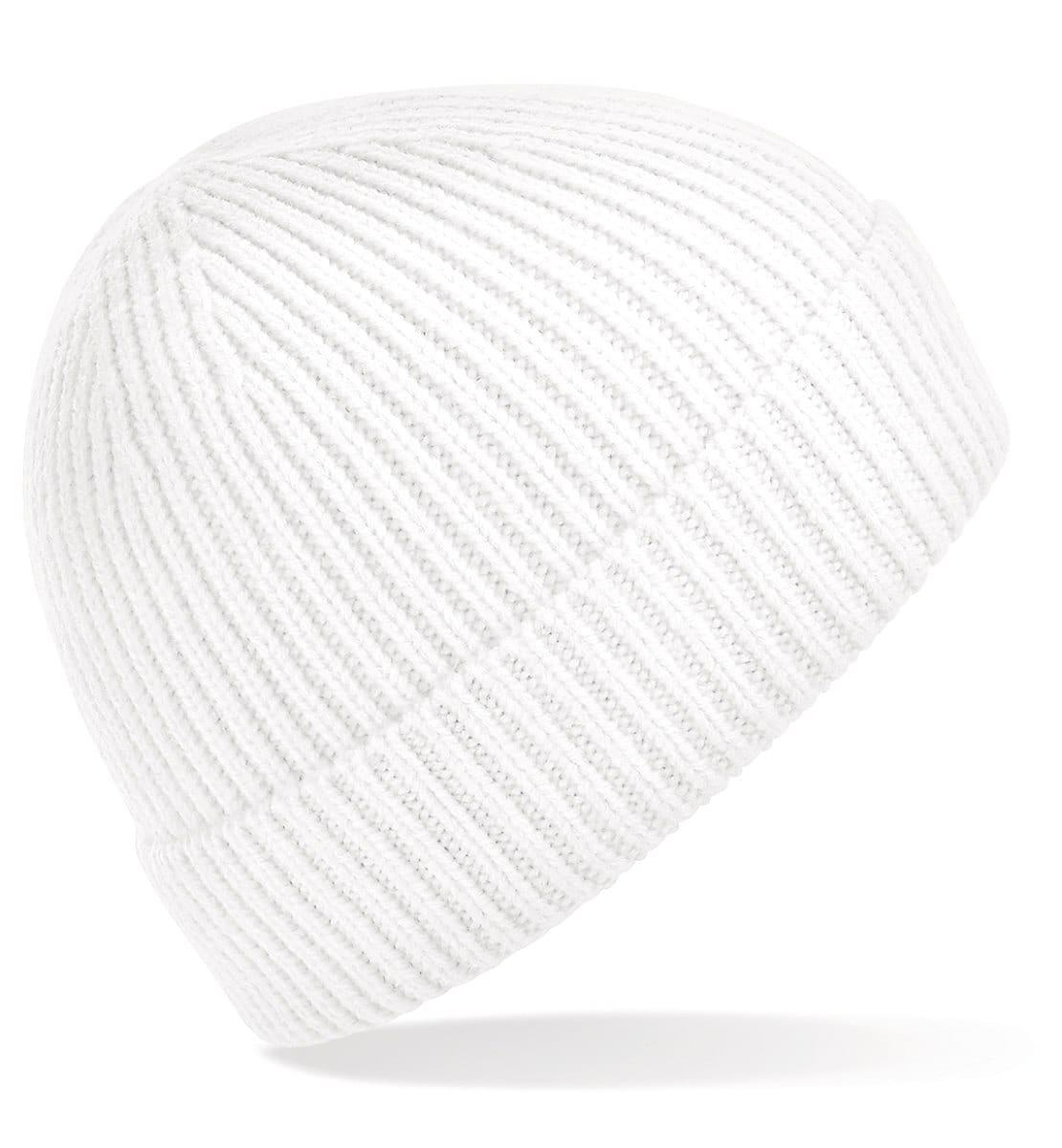 Beechfield Engineered Knit Ribbed Beanie Hat in White (Product Code: B380)