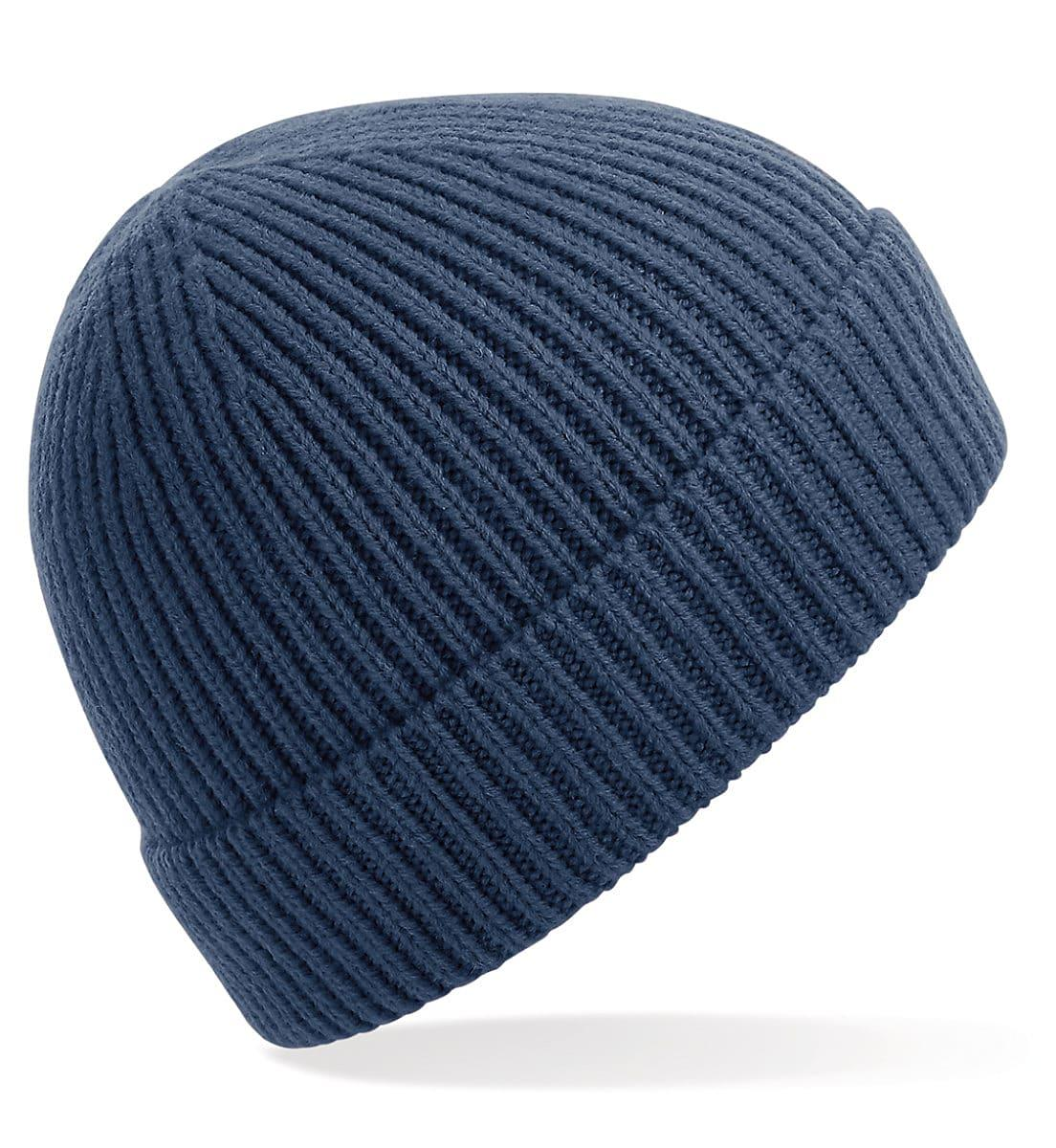 Beechfield Engineered Knit Ribbed Beanie Hat in Steel Blue (Product Code: B380)