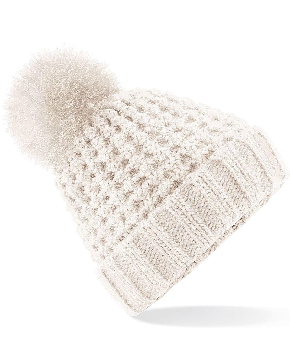 Beechfield Popcorn Fur Pop Pom Beanie Hat in Oatmeal (Product Code: B415)