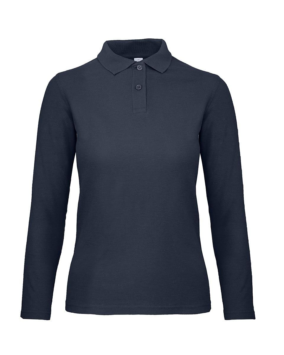 B&C Womens ID.001 Long-Sleeve Polo Shirt in Navy Blue (Product Code: PWI13)