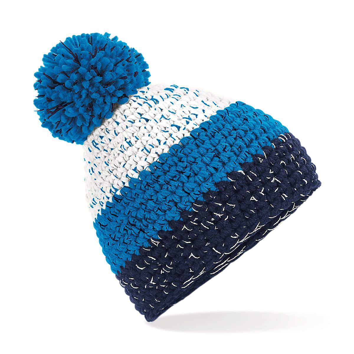 Beechfield Freestyle Beanie Hat in White / Azure Blue / Oxford Navy (Product Code: B436)