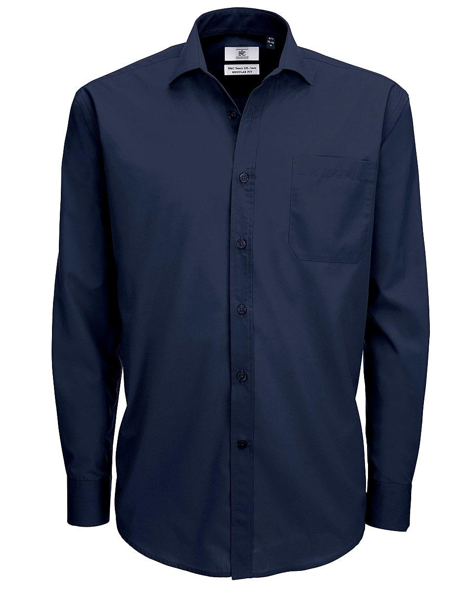 B&C Mens Smart Long-Sleeve Poplin Shirt in Navy Blue (Product Code: SMP61)