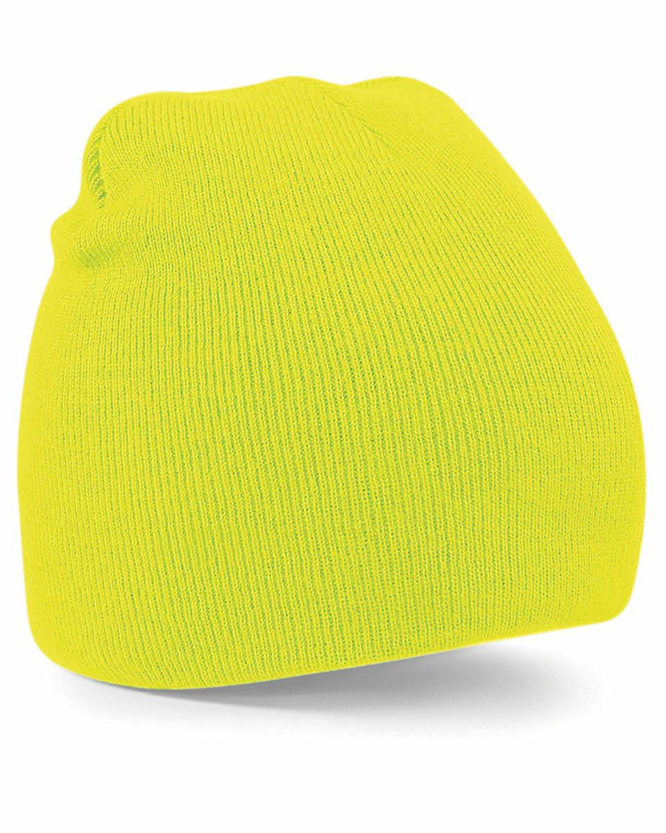 Beechfield Original Pull-On Beanie Hat in Fluorescent Yellow (Product Code: B44)