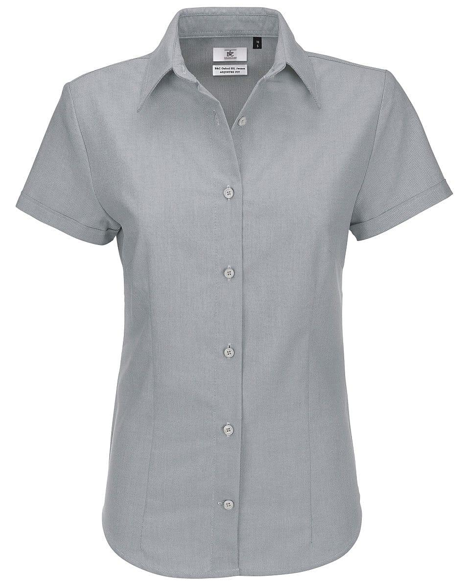 B&C Womens Oxford Short-Sleeve Shirt in Silver Moon (Product Code: SWO04)