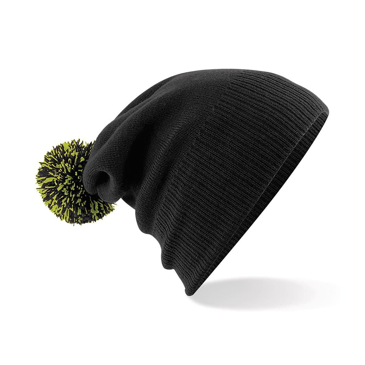 Beechfield Snowstar Beanie Hat in Black / Lime Green (Product Code: B450)