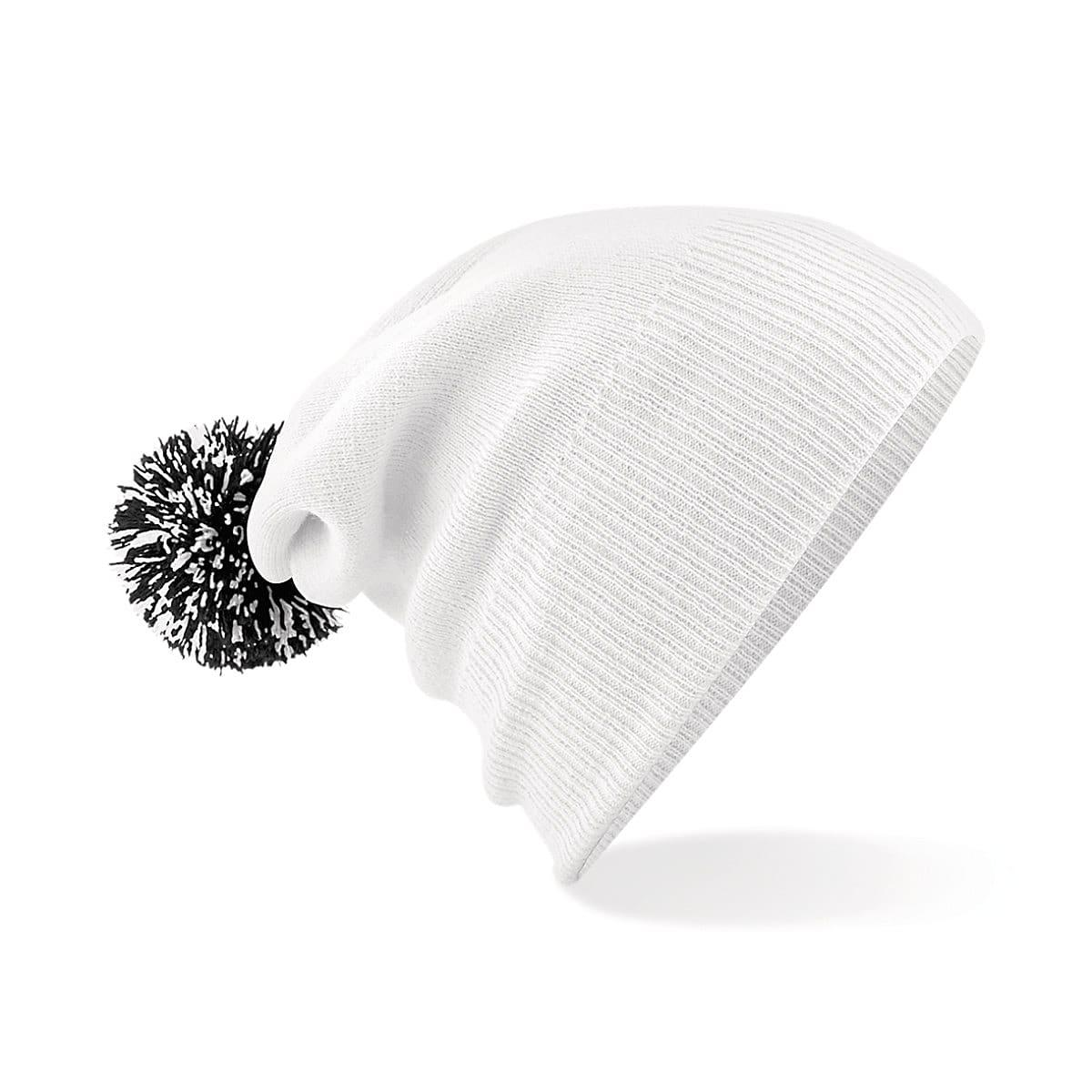 Beechfield Snowstar Beanie Hat in White / Black (Product Code: B450)