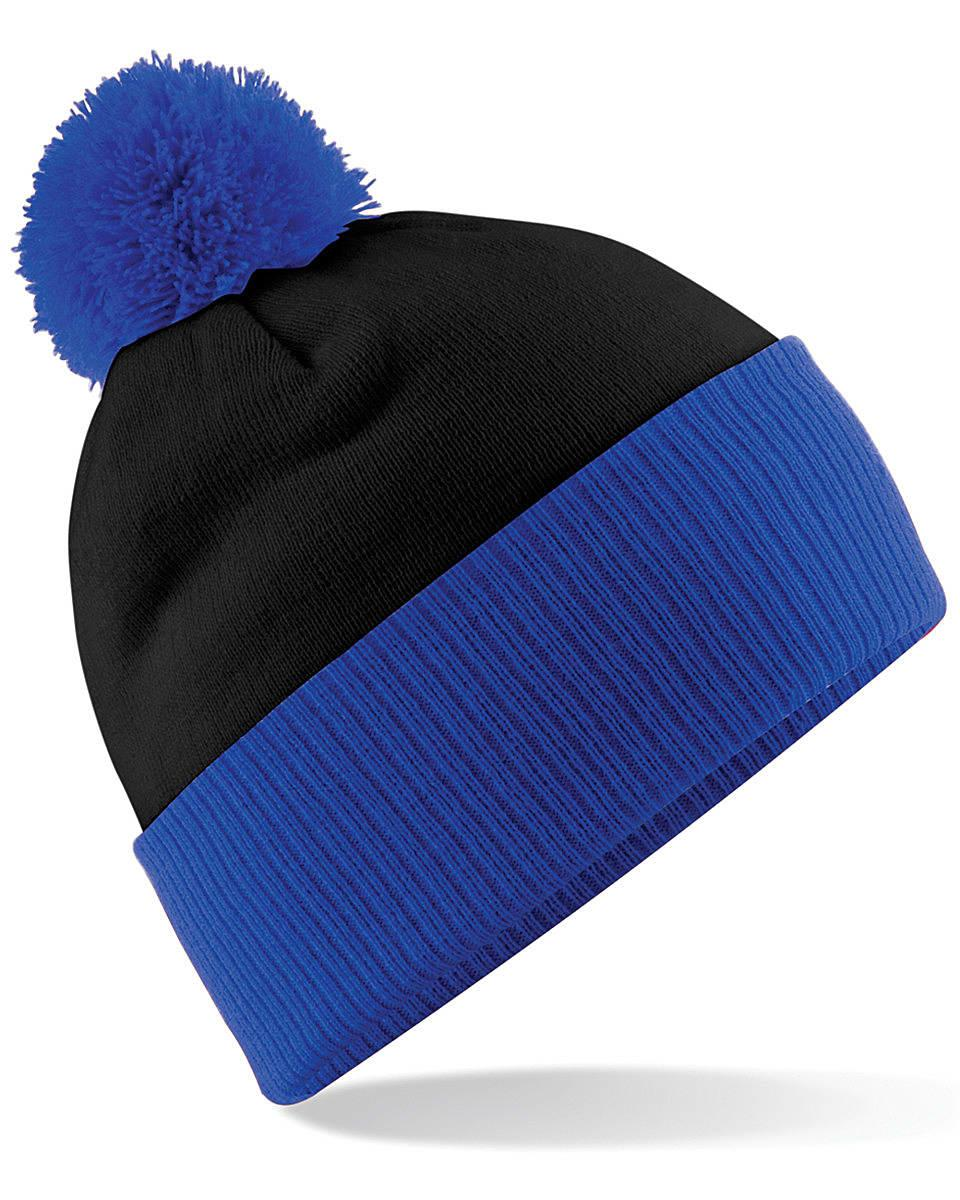 Beechfield Snowstar Two-Tone Beanie Hat in Black / Bright Royal (Product Code: B451)