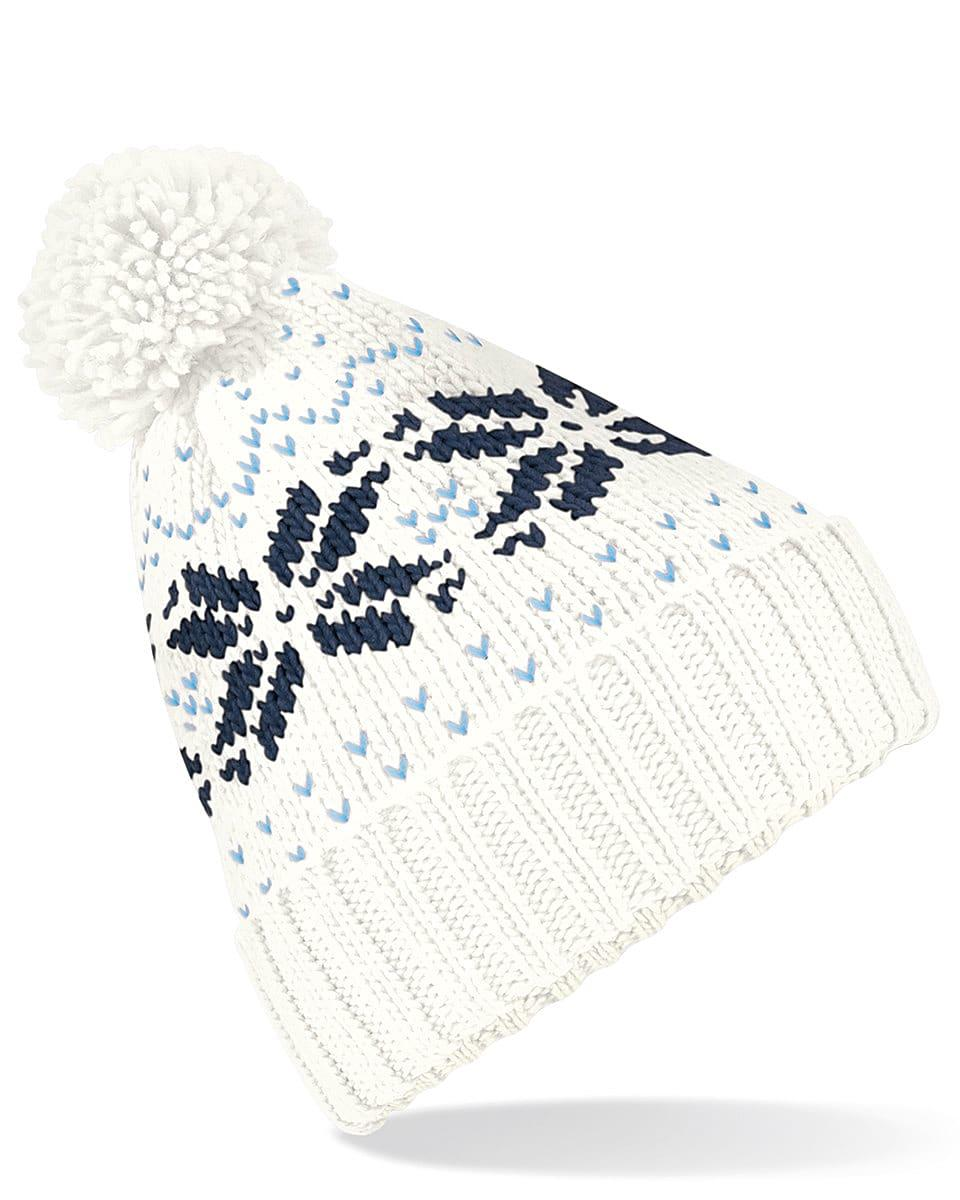 Beechfield Fair Isle Snowstar Beanie Hat in Off-White / Navy / Sky (Product Code: B456)