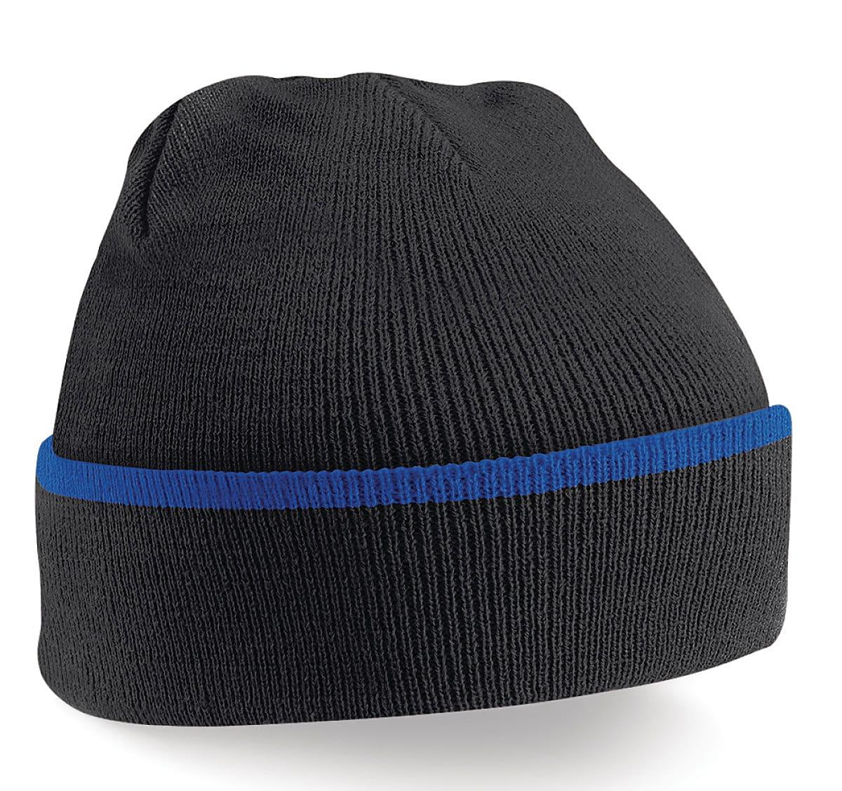Beechfield Teamwear Beanie Hat in Black / Bright Royal (Product Code: B471)